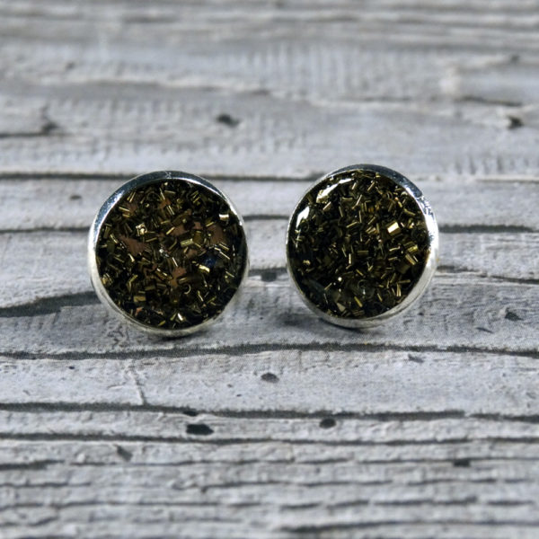 Swarf Stud earrings by Factory Floor Jewels from the front