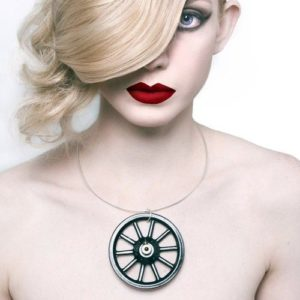 statement black necklace - vintage wheel neck cuff worn by model
