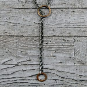 Copper and Oxidised Silver Lariat by Factory Floor Jewels