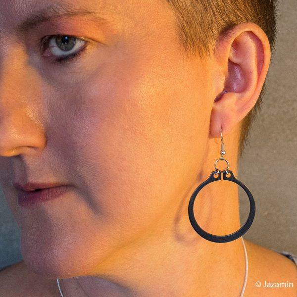 Black and Silver Statement circlip earrings