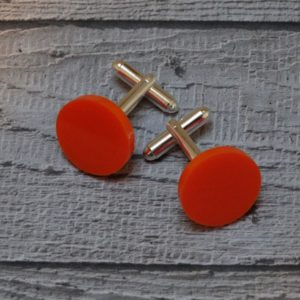 Orange Perspex Disc Cufflinks by Factory Floor Jewels
