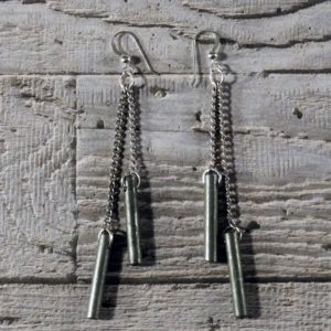 Steel Rod Drop Earrings by Factory Floor Jewels