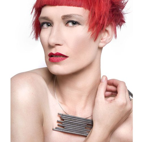 Steel Rods & Sterling Silver Neck Cuff by Factory Floor Jewels