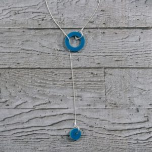 Factory Floor Jewels Turquoise Circles Drop Lariat Necklace