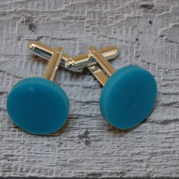 Turquoise Perspex Disc Cufflinks by Factory Floor Jewels