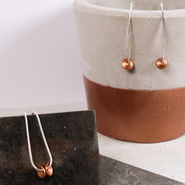 silver and copper jewellery, earrings and pendant, handmade