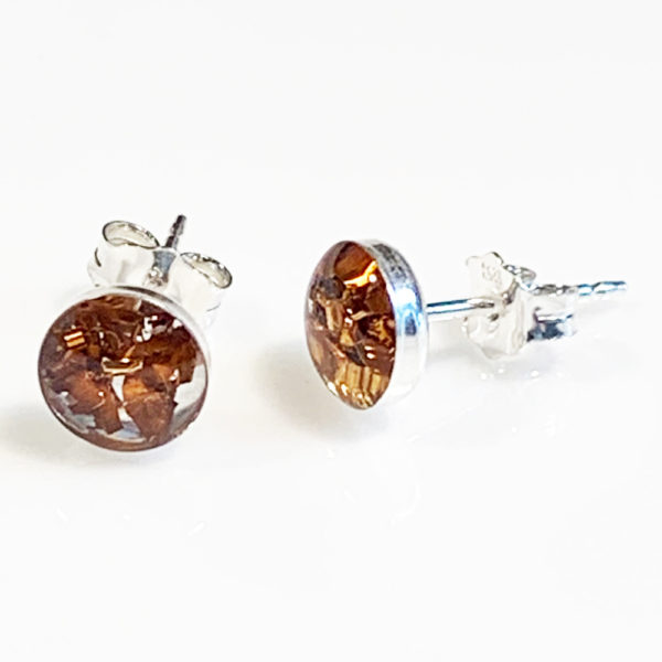 Sterling silver and bronze stud earring by factory floor jewels