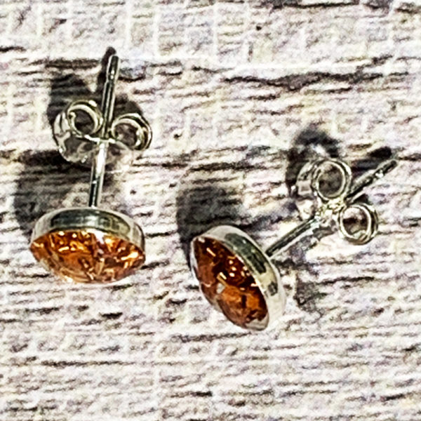 silver and bronze stud earrings
