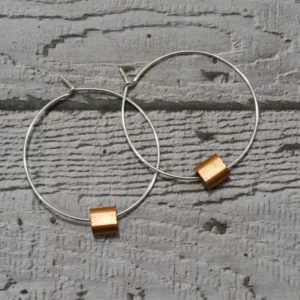 sterling silver hoops earrings with copper