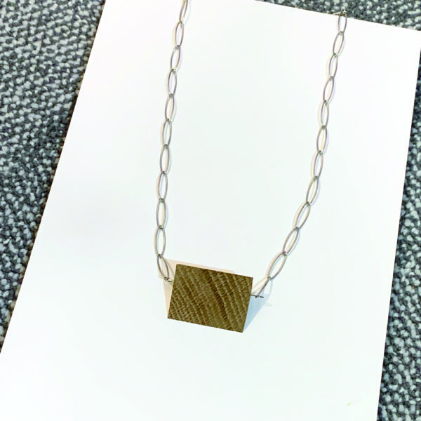 walnut and steel pendant by factory floor jewels